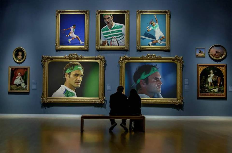 Federer on the Wall of Museum