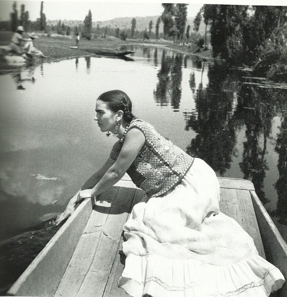 Frida Kahlo 1936 on a boat in Xochimilco, one of The Coolest Places in Mexico City Photo by Fritz Henle