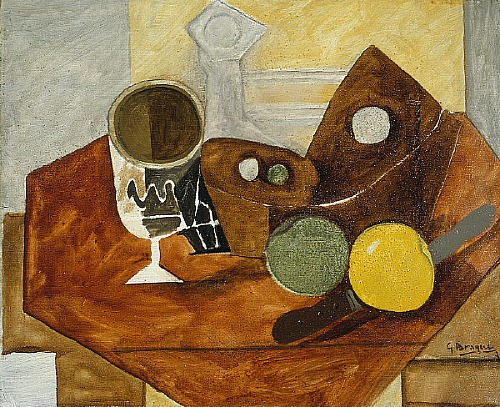 Georges Braque Glass and Fruit 1931 Oil and sand on canvas 38.1x46.4 cm Saint Louis Art Museum USA_St. Louis MO