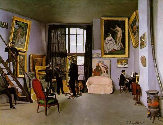 Jean Frédéric Bazille (1841–1870) - Bazille's Studio; 9 Rue de la Condamine [L'Atelier de la rue Condamine], 1870 - Musée d'Orsay, Paris