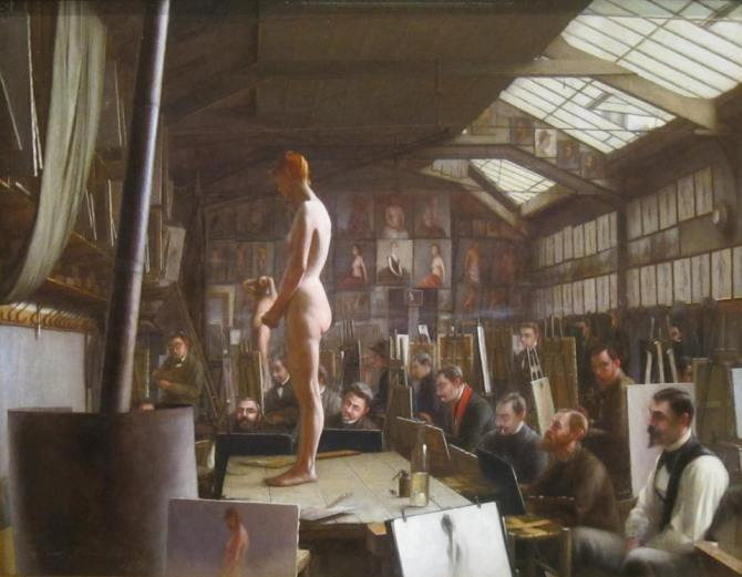 Jefferson David Chalfant (1856–1931 - american painter) - Bouguereau's Atelier at Académie Julian, Paris