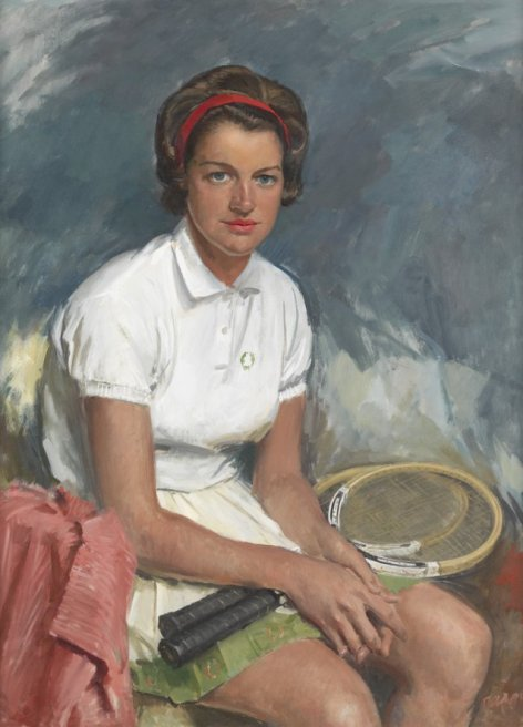 Margaret Court, 1962 by William Dargie oil on masonite 100 x 72 cm National Portrait Gallery, Canberra