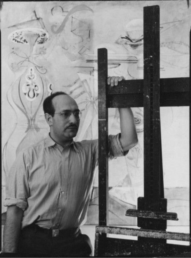 Mark Rothko with easel. Slow Swirl At The Edge Of The Sea in background. c. 1944