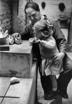Henry Moore with his daughter Mary Moore in his studio in 1949. Photograph Getty