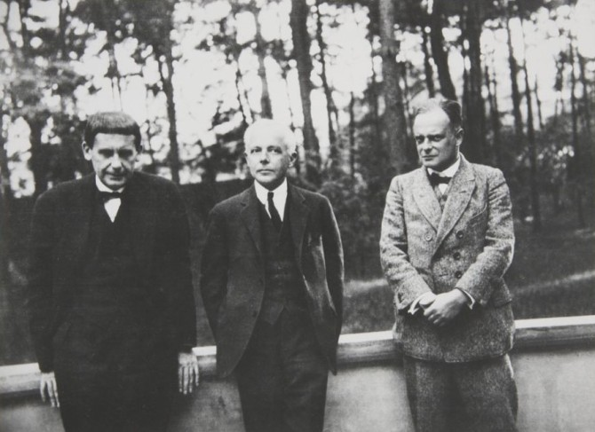 Walter Gropius with Béla Bartók and Paul Klee in Dessau ca. 1927