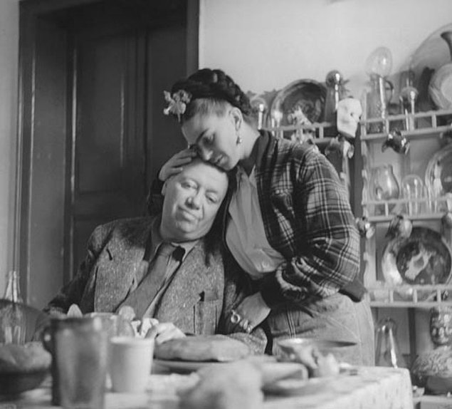 Frida Kahlo and Diego Rivera at home, 1941