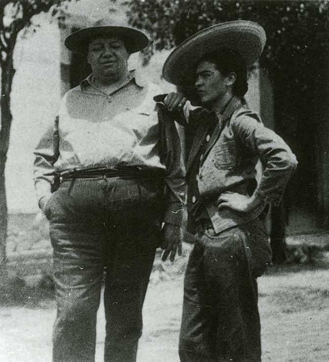 Frida Kahlo and Diego Rivera in sombrero