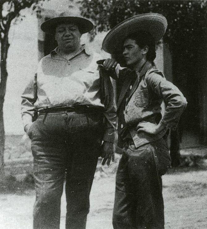 Frida Kahlo and Diego Rivera in sombrero