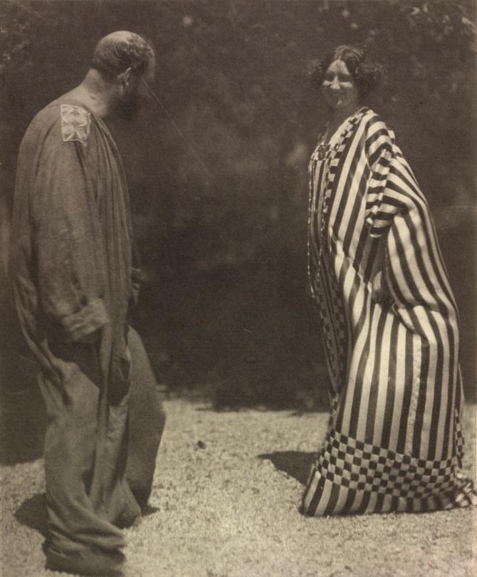 Gustav Klimt and Emilie Flöge by Hans Böhler in the Garden of the Villa Olleander on the Attersee, 1910