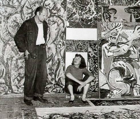 Jackson Pollock and Lee Krasner in Pollock's studio 1949