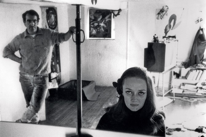 Jean Tingeuly and Niki de Saint Phalle at their studio in Soisy-sur-École, photographed by Harry Shunk, 1967