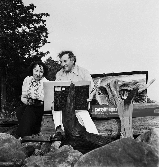 Marc Chagall and wife Bella Rosenfeld Chagall circa 1944 in Cranberry Lake, New York