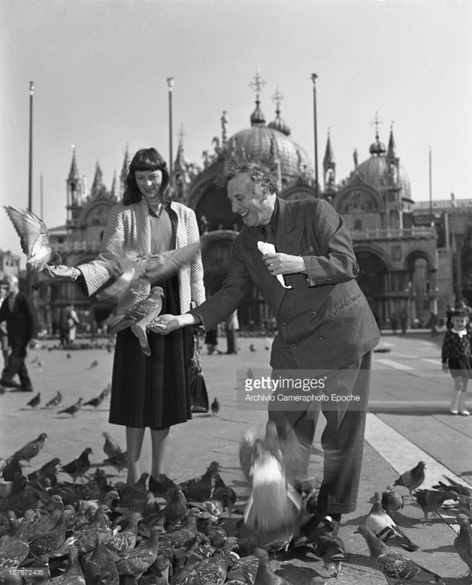 Marc Chagall with his wife in St. Mark Square, Venice, 1948
