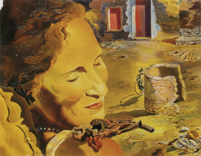 Salvador Dalí Portrait of Gala with Two Lamb Chops Balanced on Her Shoulder, 1933
