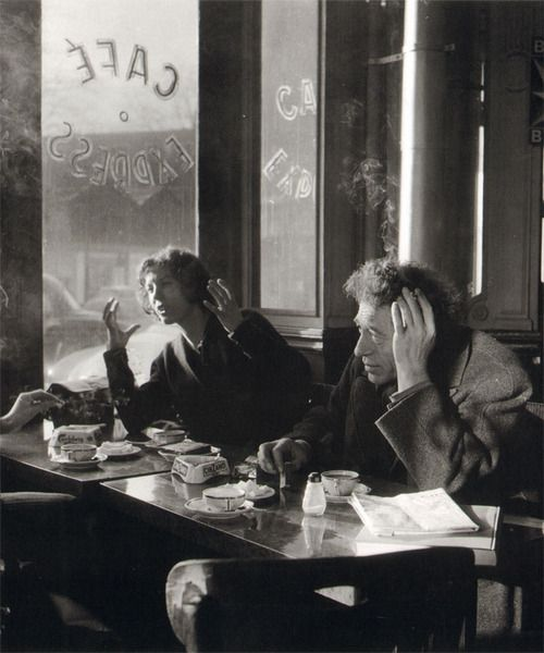 Alberto and Annette Giacometti, Café Express, Paris, December 1957