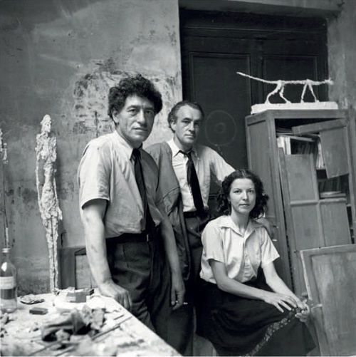 Alberto Giacometti, Diego Giacometti and Annette Arm by Alexander Liberman, 1950s
