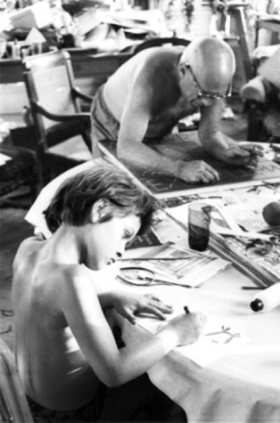 Pablo Picasso and Paloma Picasso 1957