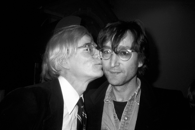 Andy Warhol kissing John Lennon at the 860 Broadway Factory