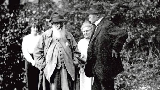 Claude Monet and his daughter Blanche Hoschede with Georges Clemenceau in Giverny ca. 1921
