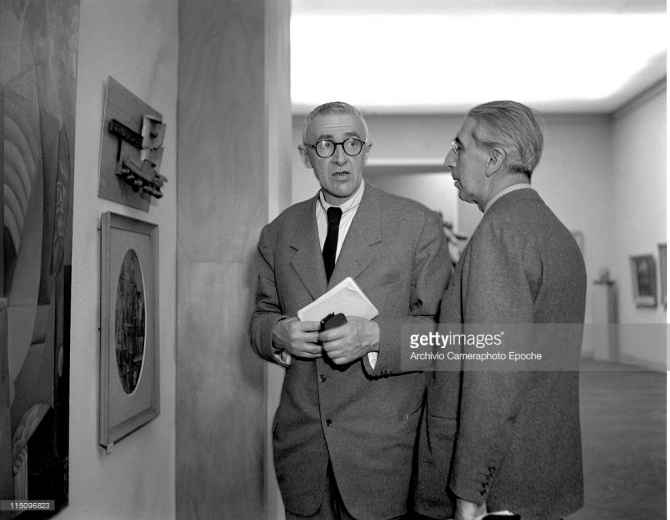 Giorgio Morandi with Roberto Longhi at Art Biennale, Venice 1948