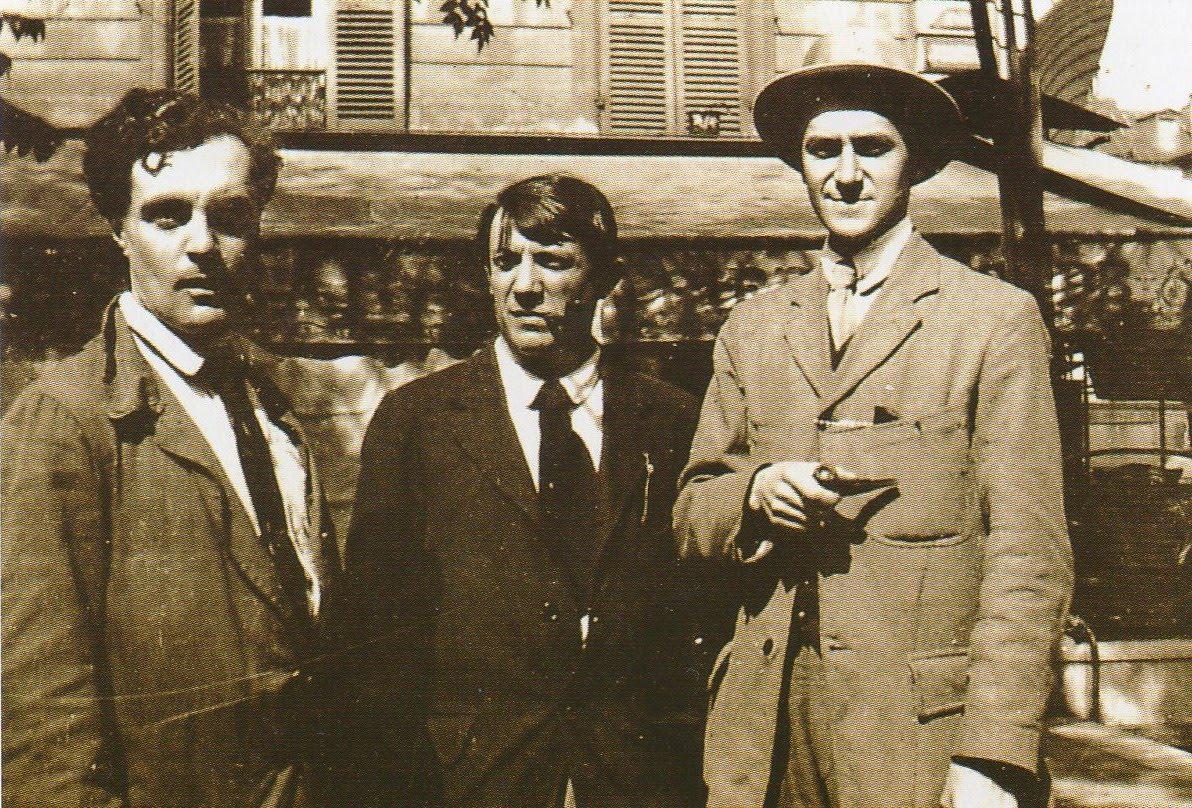 Modigliani, Picasso and André Salmon at Café de la Rotonde in Paris, 1916.