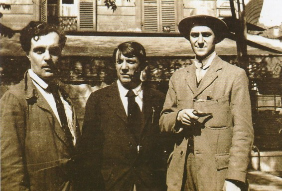 Modigliani, Picasso and André Salmon at Café de la Rotonde in Paris, 1916.