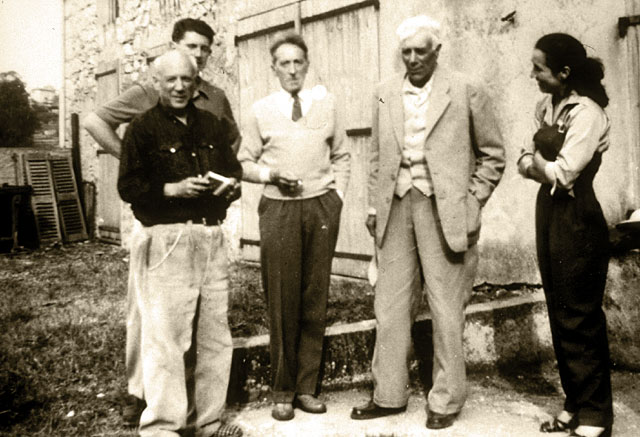 Picasso, his son Paulo, Jean Cocteau, Georges Braque and Françoise Gilot, in front of Picasso's studio, Vallauris, 1953