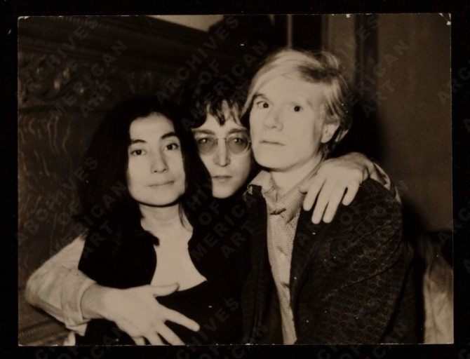 Yoko Ono, John Lennon and Andy Warhol, 1971 June 5