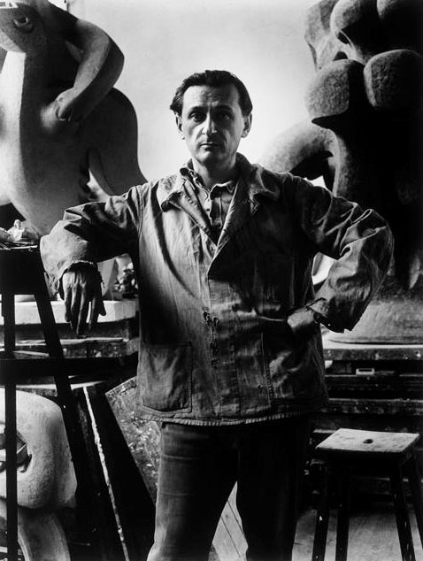 Jacques Lipchitz in his Studio (Atelier), Paris, circa 1935. Photo by Rogi André (1905-1970)