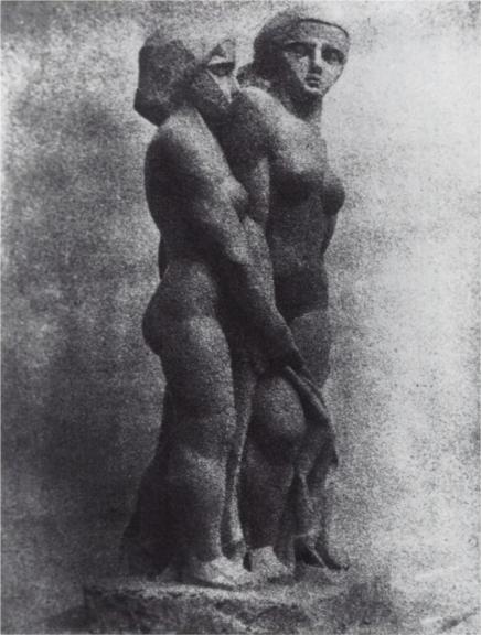 Joseph_Csaky,_1911-1912,_Deux_Femme_(Two_Women),_plaster_lost,_photo_Galerie_René_Reichard,_Frankfurt,