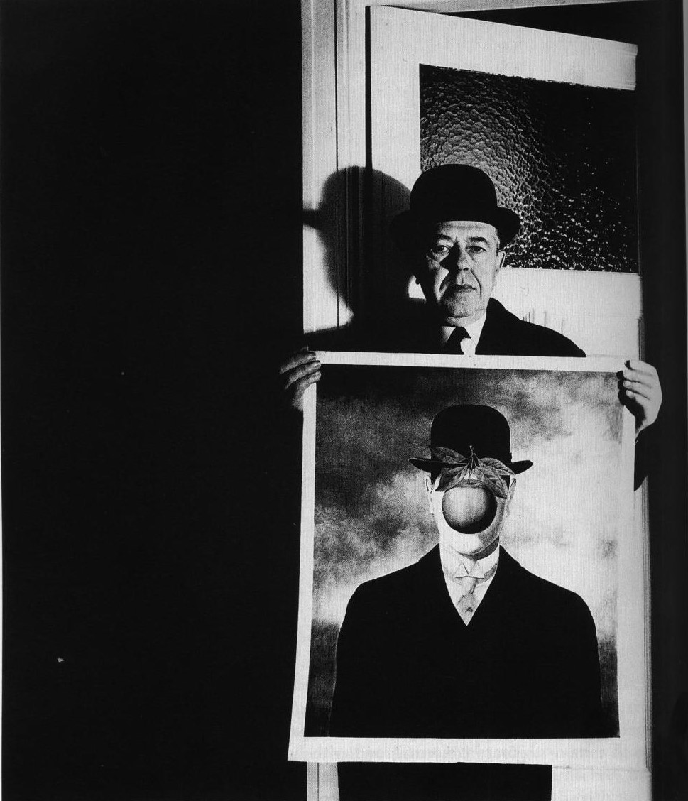 Bill Brandt - Rene Magritte with his picture, The Great War, 1966