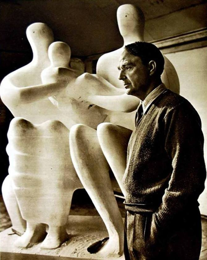 Henry Moore with his sculpture 'Family' 1949 - photographed by Jousuf Karsh