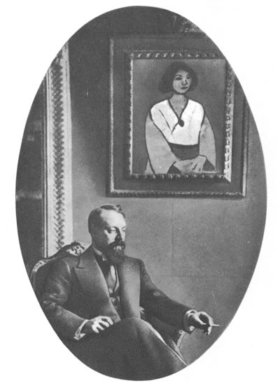 Matisse in Moscow in 1911 in the house of the Russian art collector Schuki. On the wall hangs Matisse's Woman in Green.