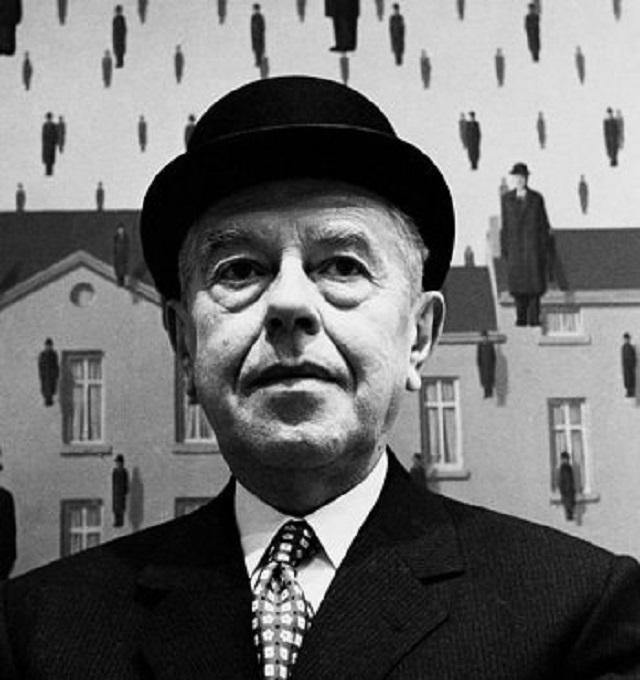 René Magritte and his painting Golconda