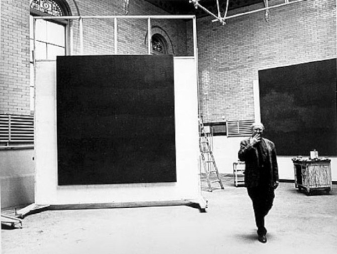 Rothko in his 69th Street studio with the Rothko chapel murals 1964