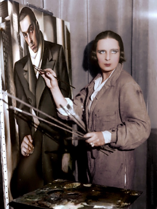 Tamara de Lempicka painting a portrait of her first husband Tadeusz Lempicki, ca.1928