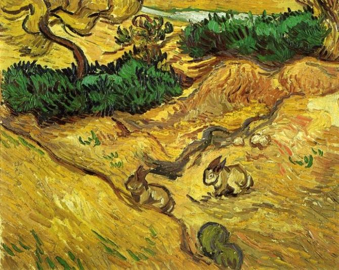 Van Gogh, Field with Two Rabbits, December 1889. Oil on canvas, 32.5 x 40.5 cm. Van Gogh Museum, Amsterdam
