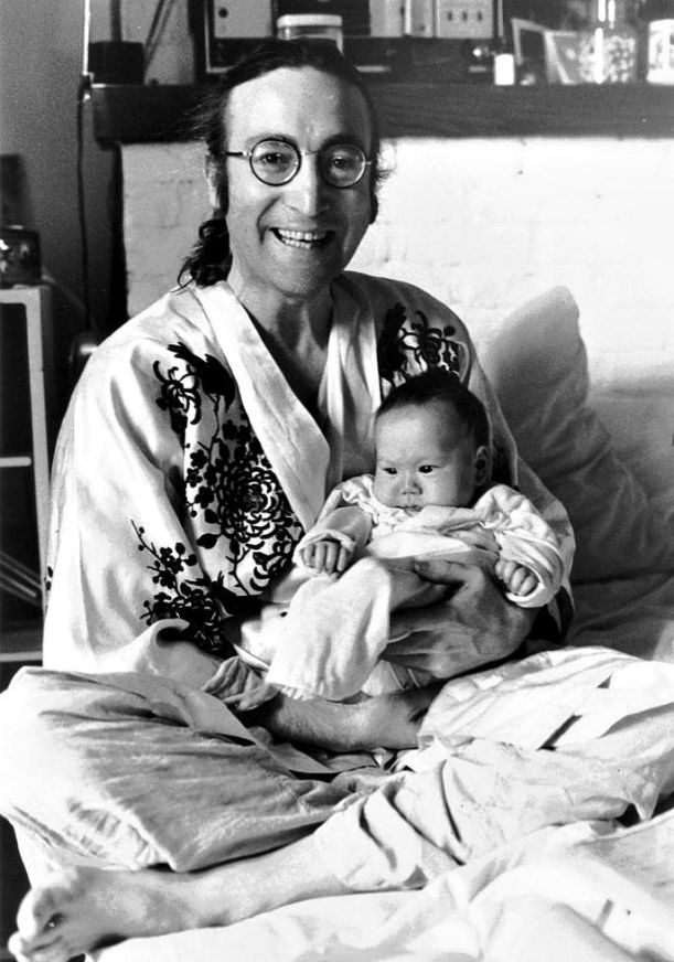 John Lennon with his son Sean in New York City at New Years Eve 1975