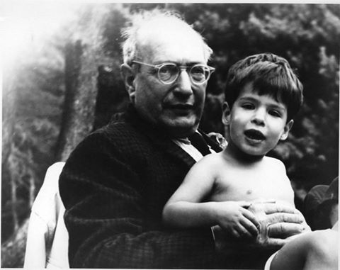 Mark Rothko and his son Christopher Rothko by the pool in London, ca. 1966