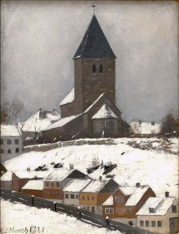 Edvard Munch (Norwegian, 1864-1944) Old Aker Church 1881
