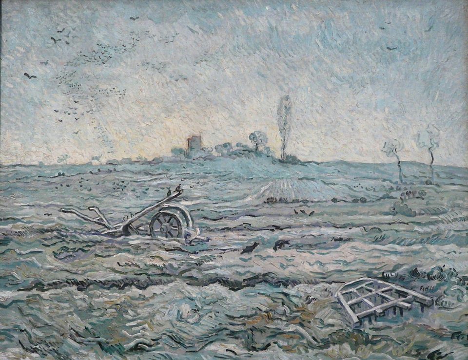 Vincent Van Gogh (Dutch, 1853-1890) Snow-covered Field with a Harrow (after Millet) 1889