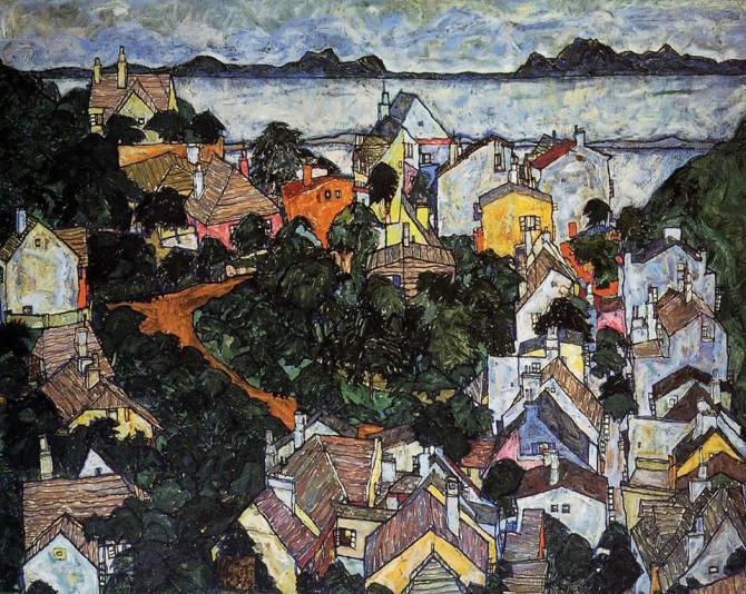 Egon Schiele (Austrian, 1890-1918)_Summer Landscape, Krumau 1917