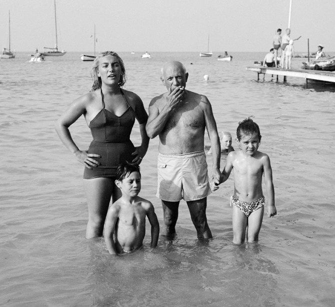 Picasso with his children Maya, Claude and Paloma at the beach. Golfe-Juan, 1953