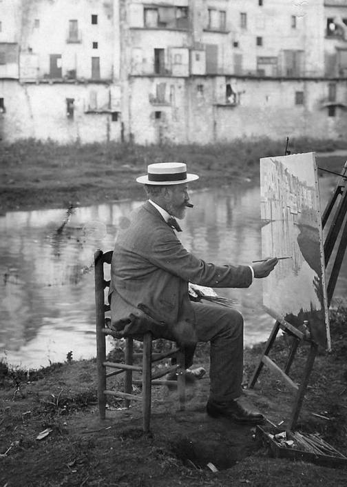 Santiago Rusiñol, painting on the banks of the river Onyar in Girona, Catalonia, between 1908 and 1915