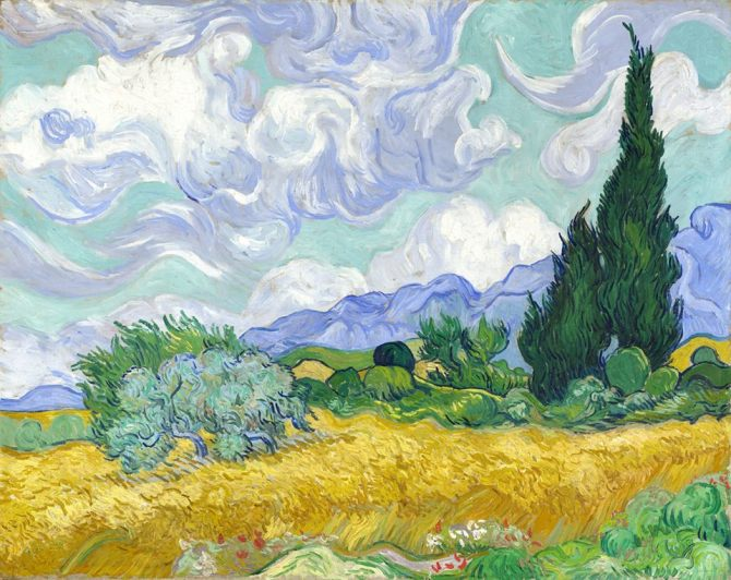 Vincent Van Gogh (Dutch, 1853-1890)_A Wheatfield, with Cypresses 1889