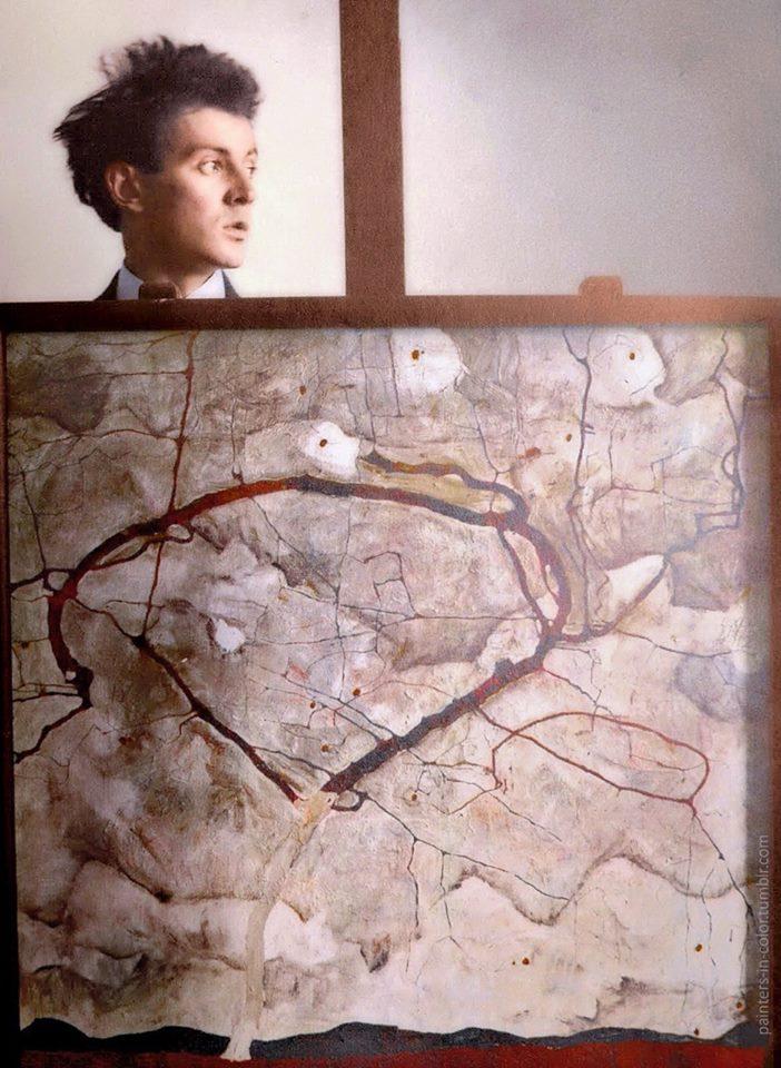 Egon Schiele behind his painting Winterbaum, 1912.jpg