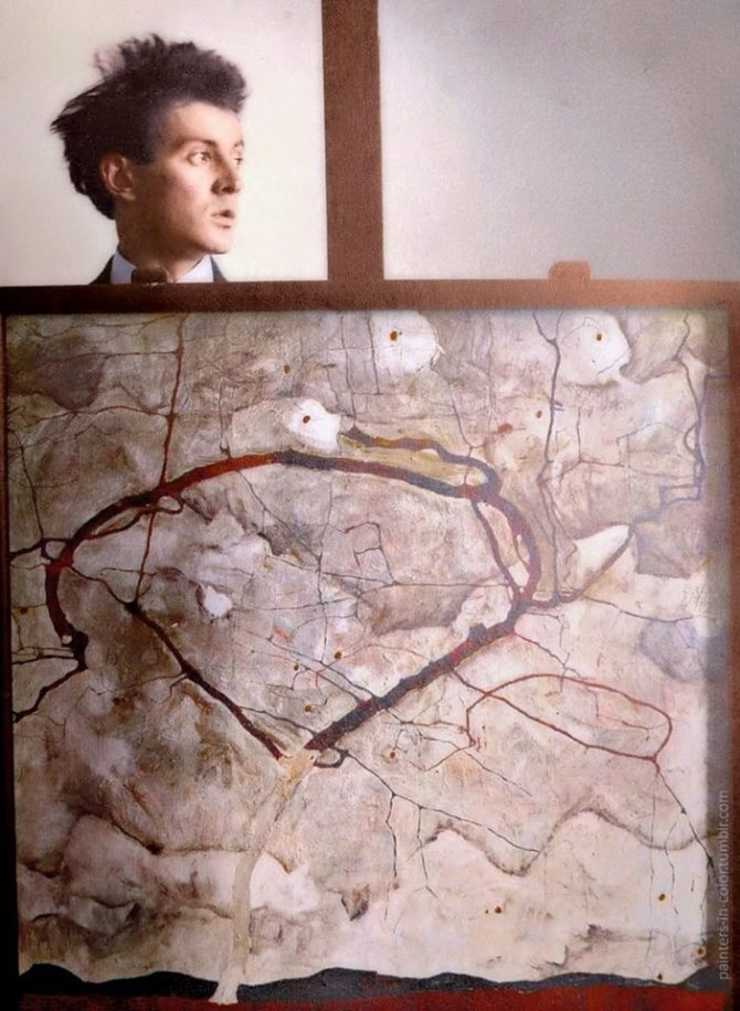 Egon Schiele behind his painting Winterbaum, 1912.jpg