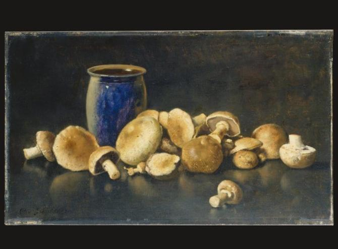 Otto Scholderer (German, )_Still Life with Blue Vase and Mushrooms , ca. 1891.jpg