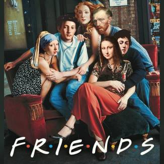Dan Cretu (Rumanian, born 1981)_Mona Lisa, Vincent Van Gogh, The Girl With a Pearl Earring by Vermeer, Venus by Botticelli and others as the cast of TV-series Friends