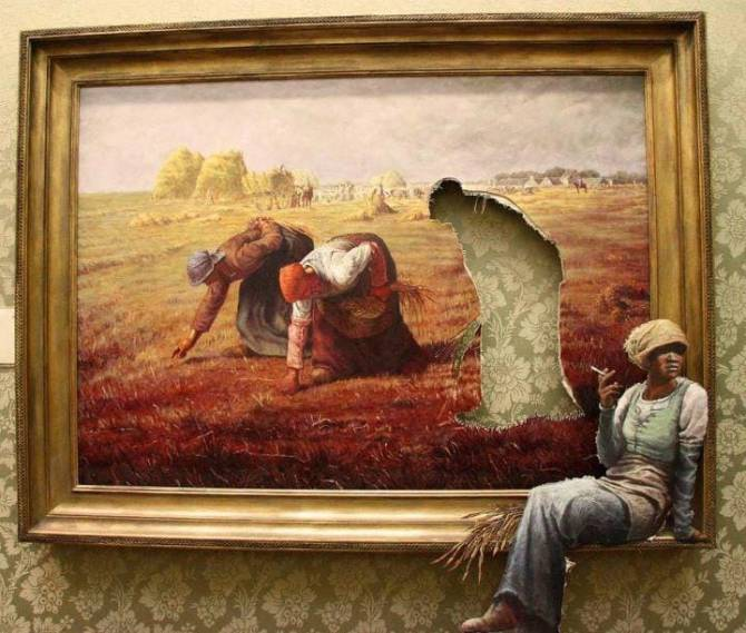 Resting worker from Millet's painting 'The Gleaners'